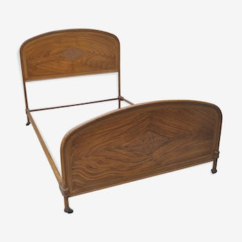 Queen art deco bed with metal and wood