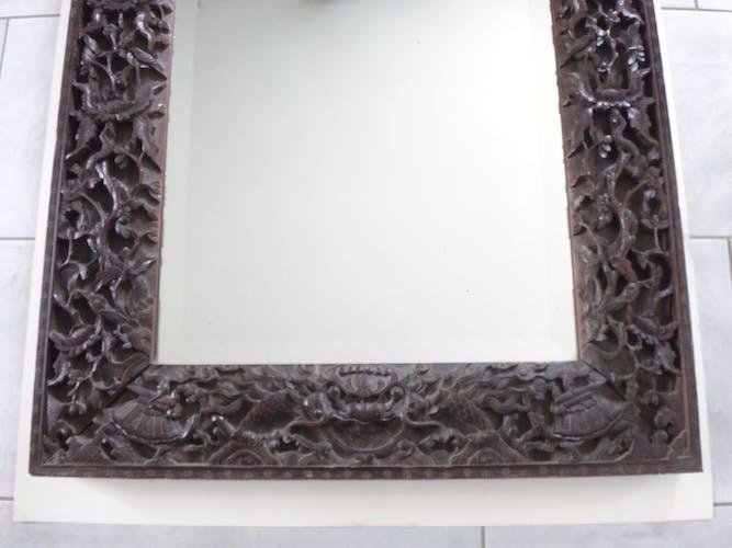 Miroir en palissandre richement sculpté, 110x73cm, Indochine, Vietnam, XIXème