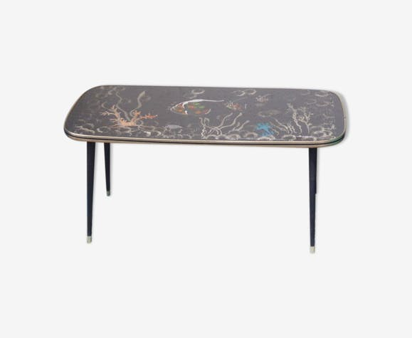 Table Basse Noire Design Rectangulaire Pieds Compas Bois Et Metal