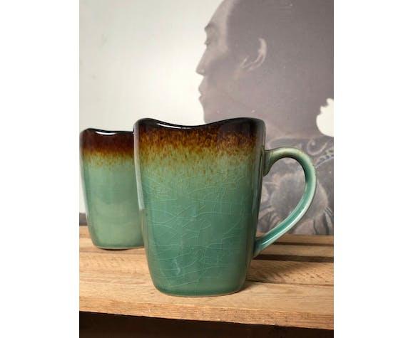 Duo de Mugs céramique grès vert bleu