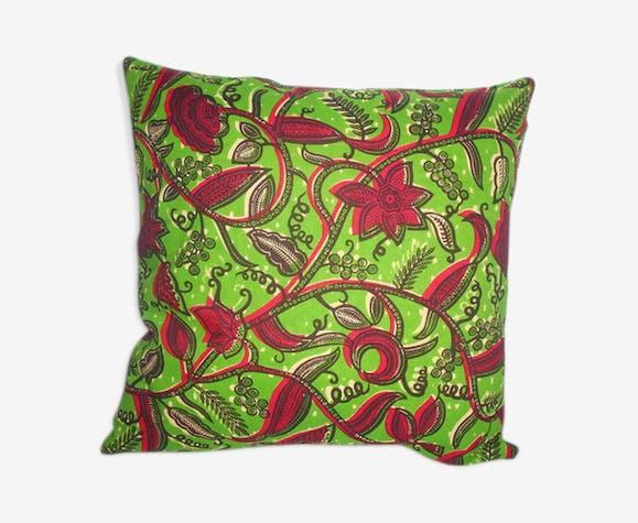 Housse de coussin 60x60 cm en wax feuilles de manguiers vert et rouge