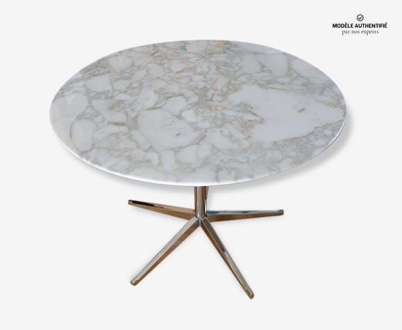 Table ronde en marbre arabescato Florence Knoll, année 60/70 ...