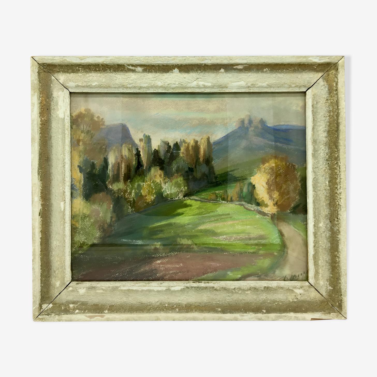 Tableau paysage champêtre année 1970 signé