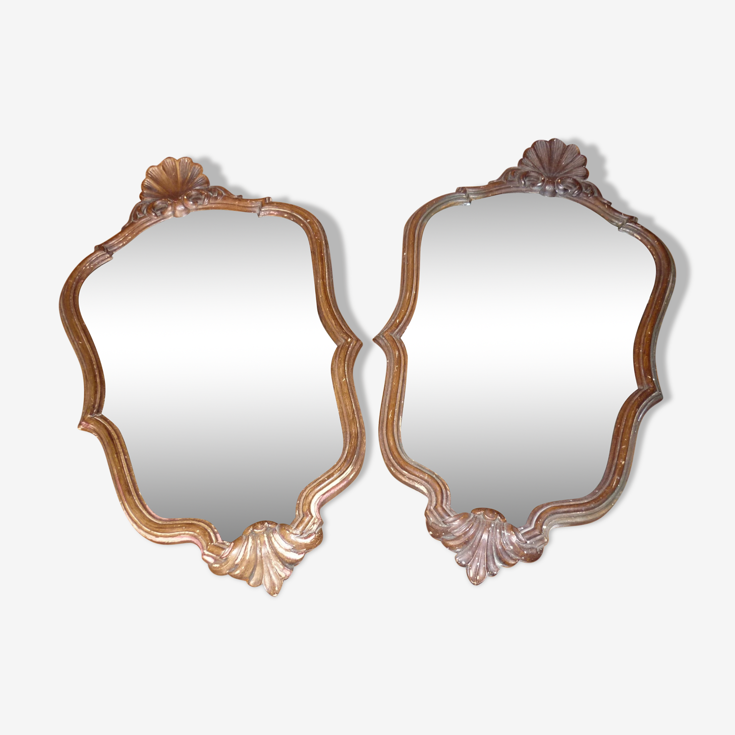 Pair of Louis XV style wooden mirrors 60x34 cm