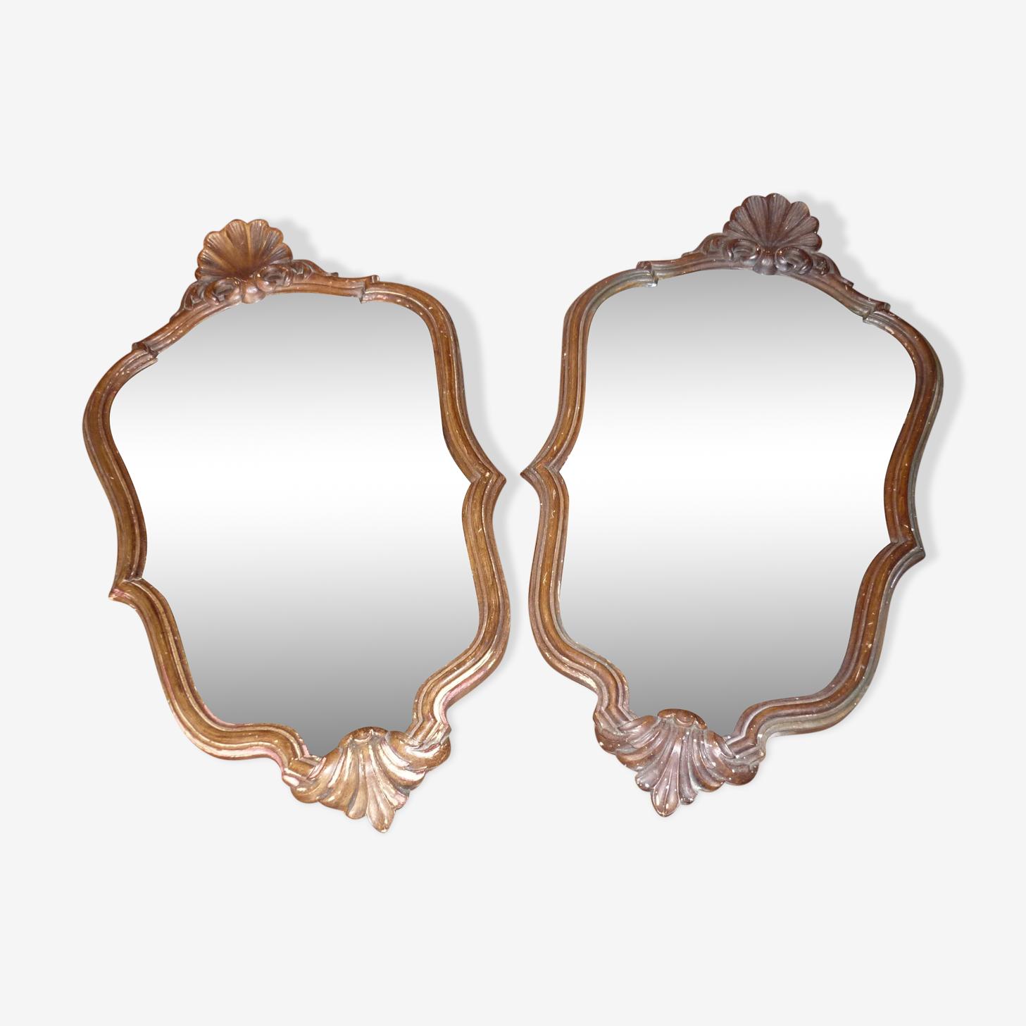 Paire de miroirs style Louis XV en bois  60x34 cm