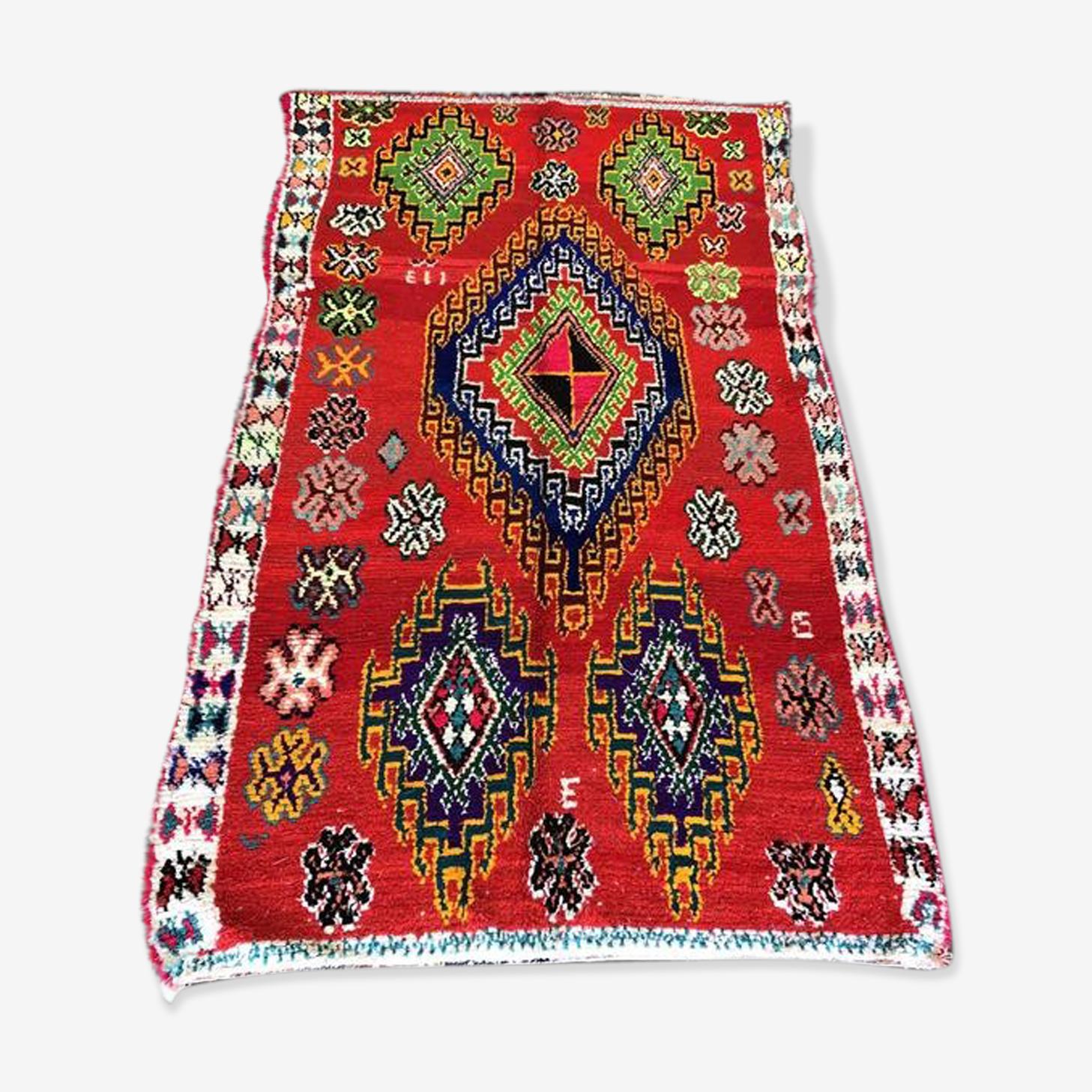 Tapis Marocain Boucherouite 145x260 Cm Laine Coton Rouge