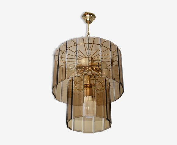 Chandelier smoked glass/gold metal 1970s