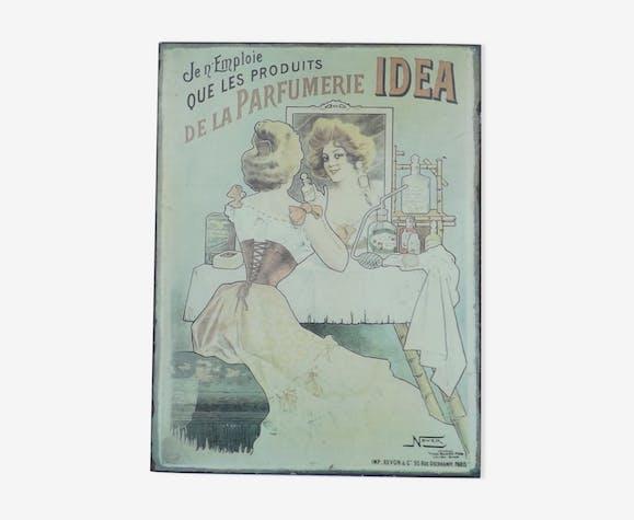 Plaque tôle publicitaire ancienne Parfumerie Idea