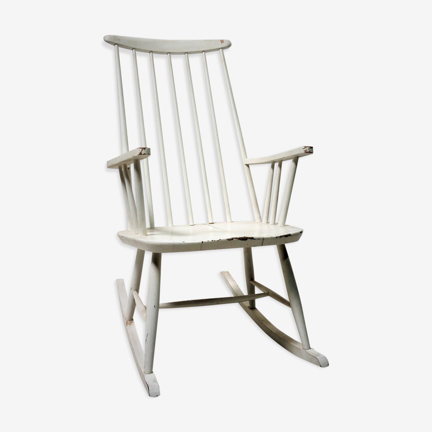 Rocking chair scandinave laqué blanc