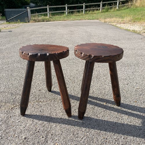 Pair of brutalist wooden tripod stools