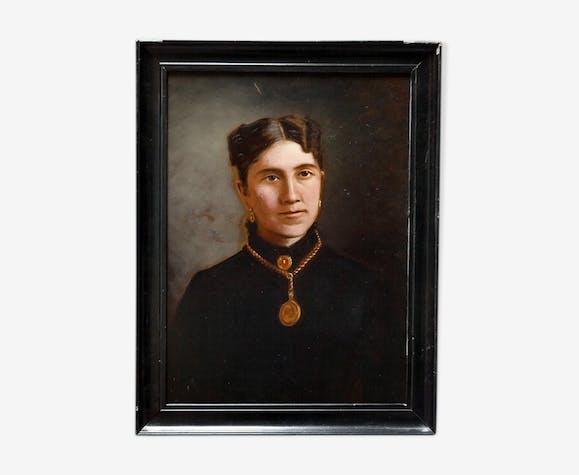 Portrait de femme 19ème siècle cadre Napoléon III