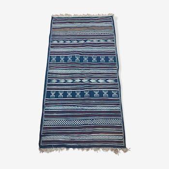 Tapis bleu berbère fait à la main en pure laine 110x210cm