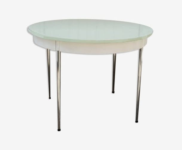Pale green round formica table, 70