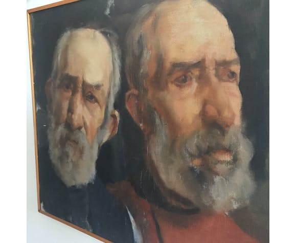 Oil on canvas, portrait of two men circa 1960.