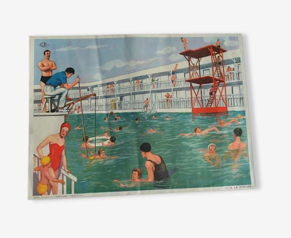 affiche scolaire rossignol ann e 50 la piscine chez le coiffeur vintage ecole papier. Black Bedroom Furniture Sets. Home Design Ideas