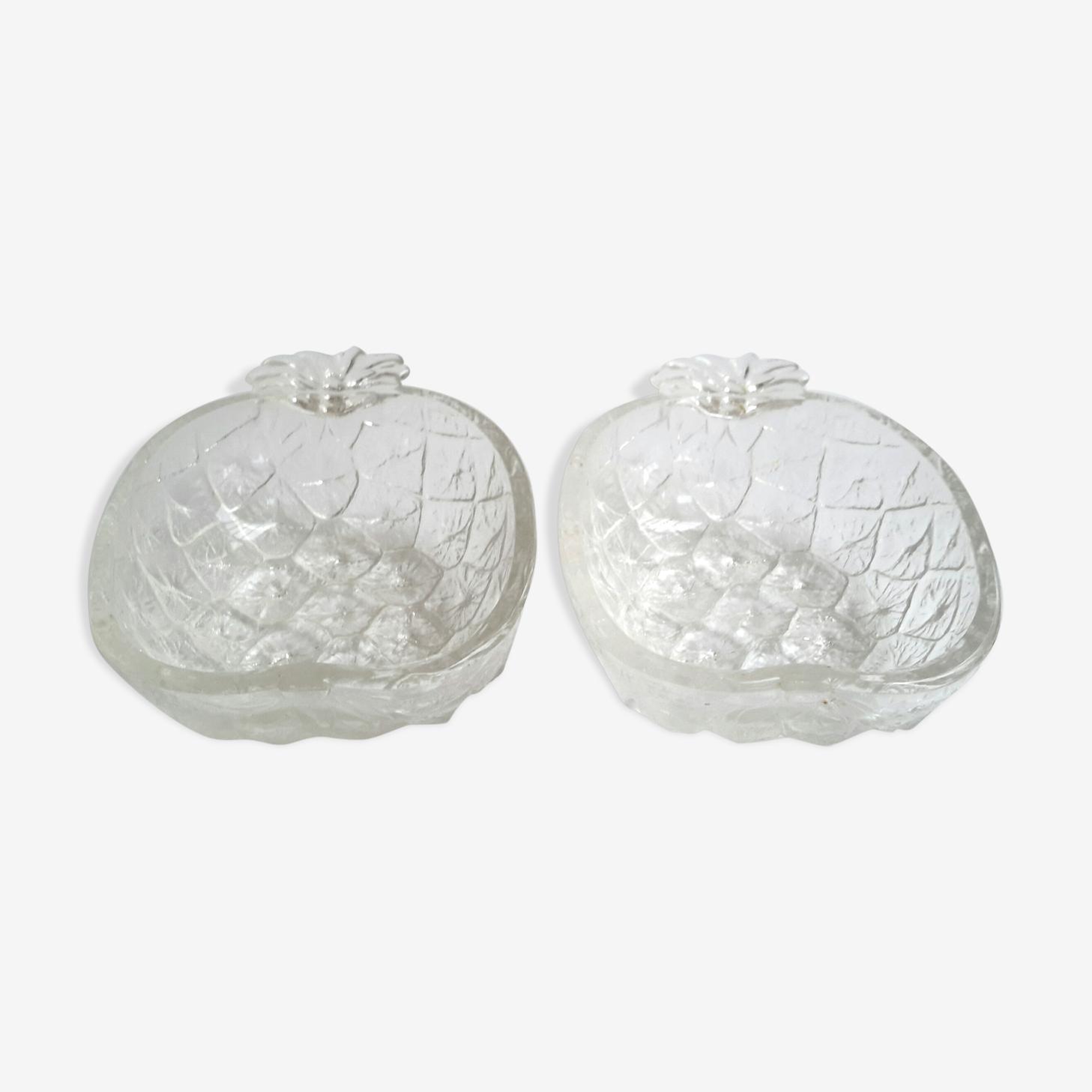 Paire de ramequins en verre forme ananas