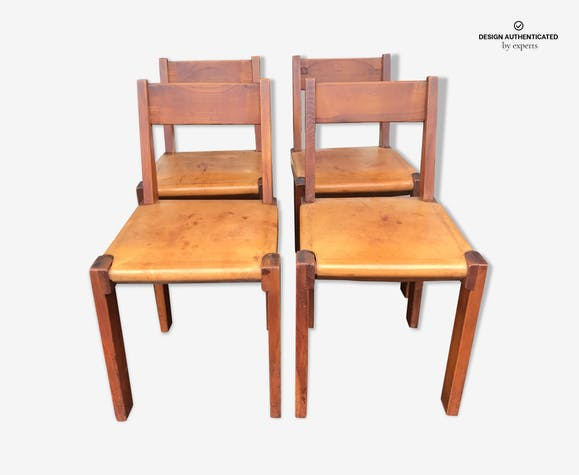 "Lot of 4 chairs by Pierre Chapo ""S24"" 1974"
