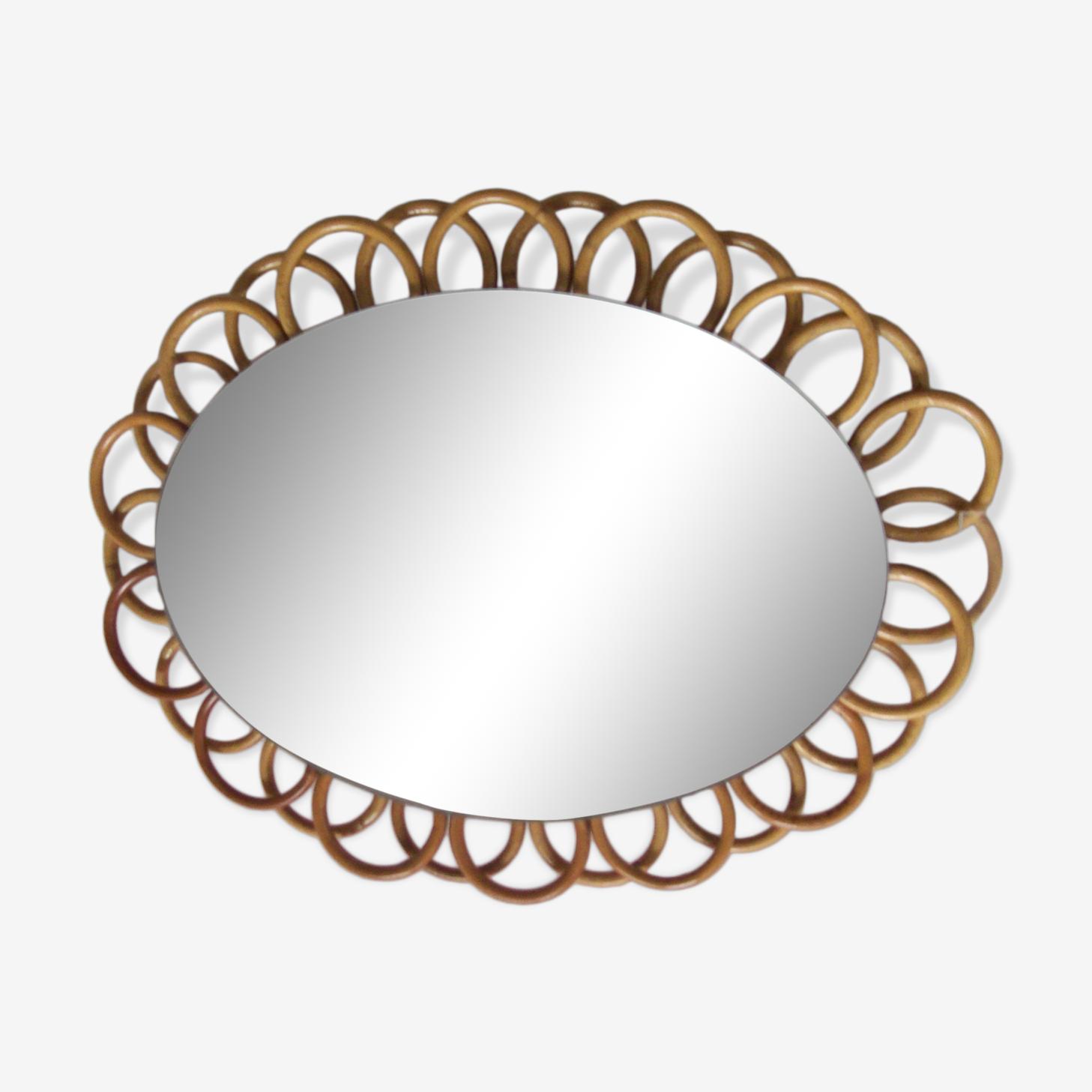 Vintage rattan mirror, 28x36cm