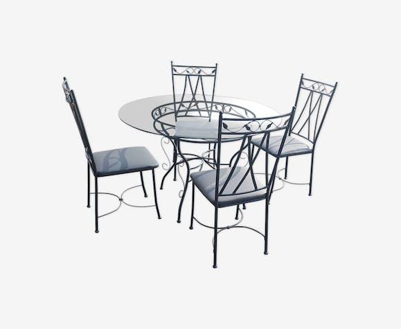 Table ronde et 4 chaises en fer forgé - métal - gris ...