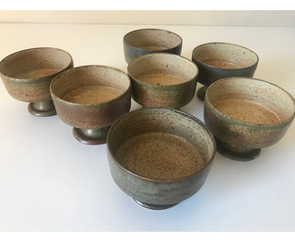 Lot cups or bowls by Jacques Lacheny vintage sandstone