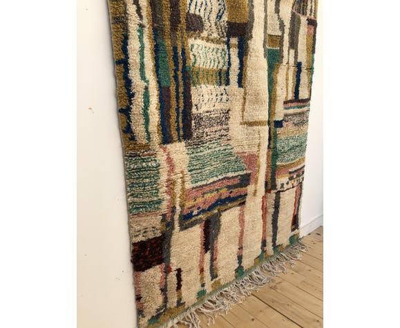 Moroccan Berber rug Azilal with colorful line patterns 2.6x1.56m
