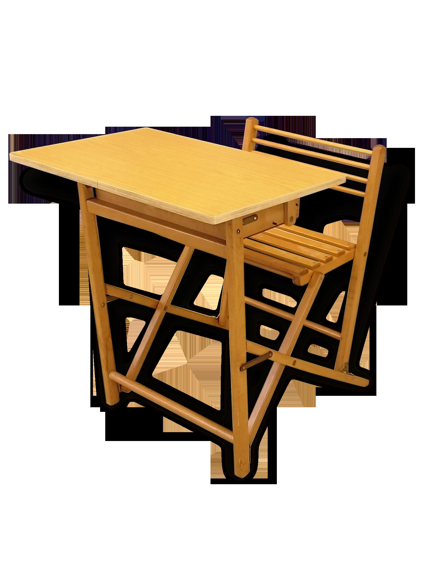 Bureau enfant pliable vintage bois matériau vintage