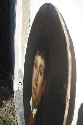 Portait, tondo sur bois  57 x 47cm