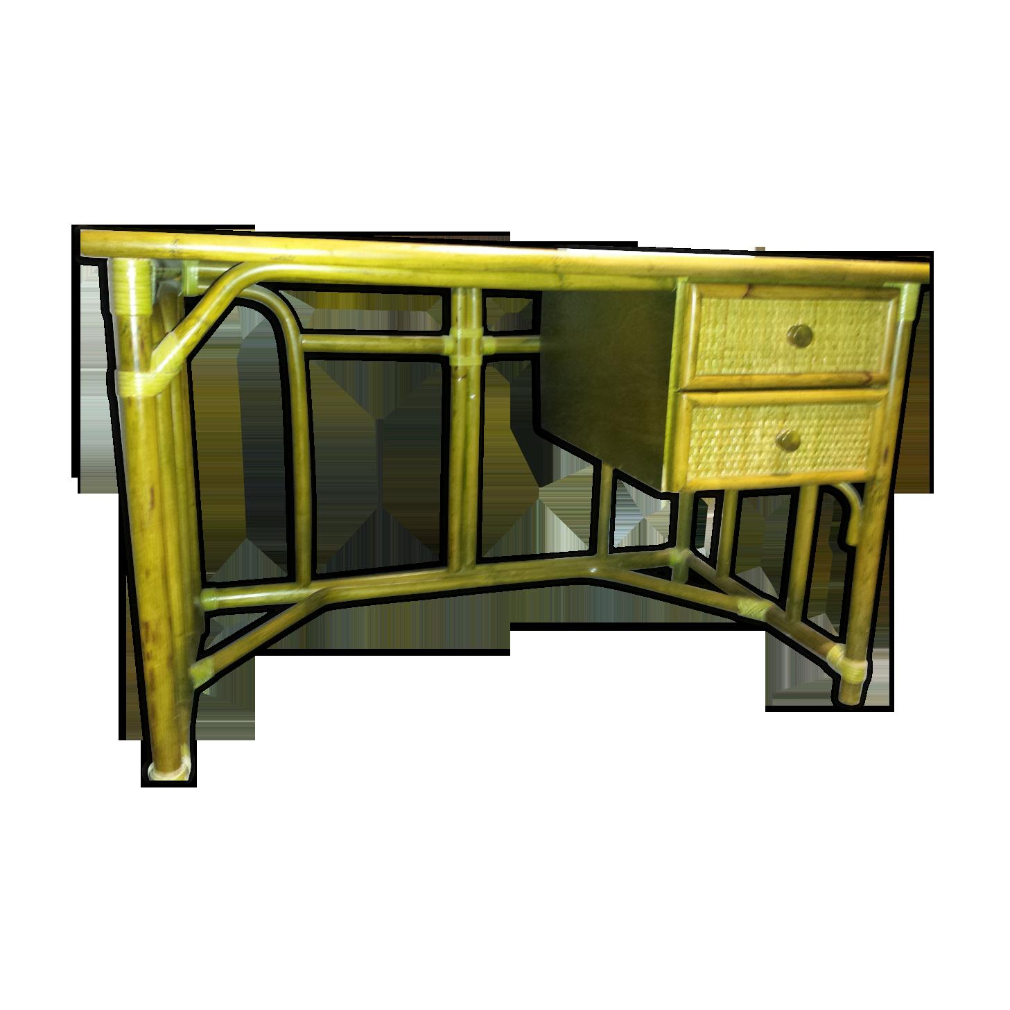 Bureau rotin avec tiroirs rotin et osier vert vintage