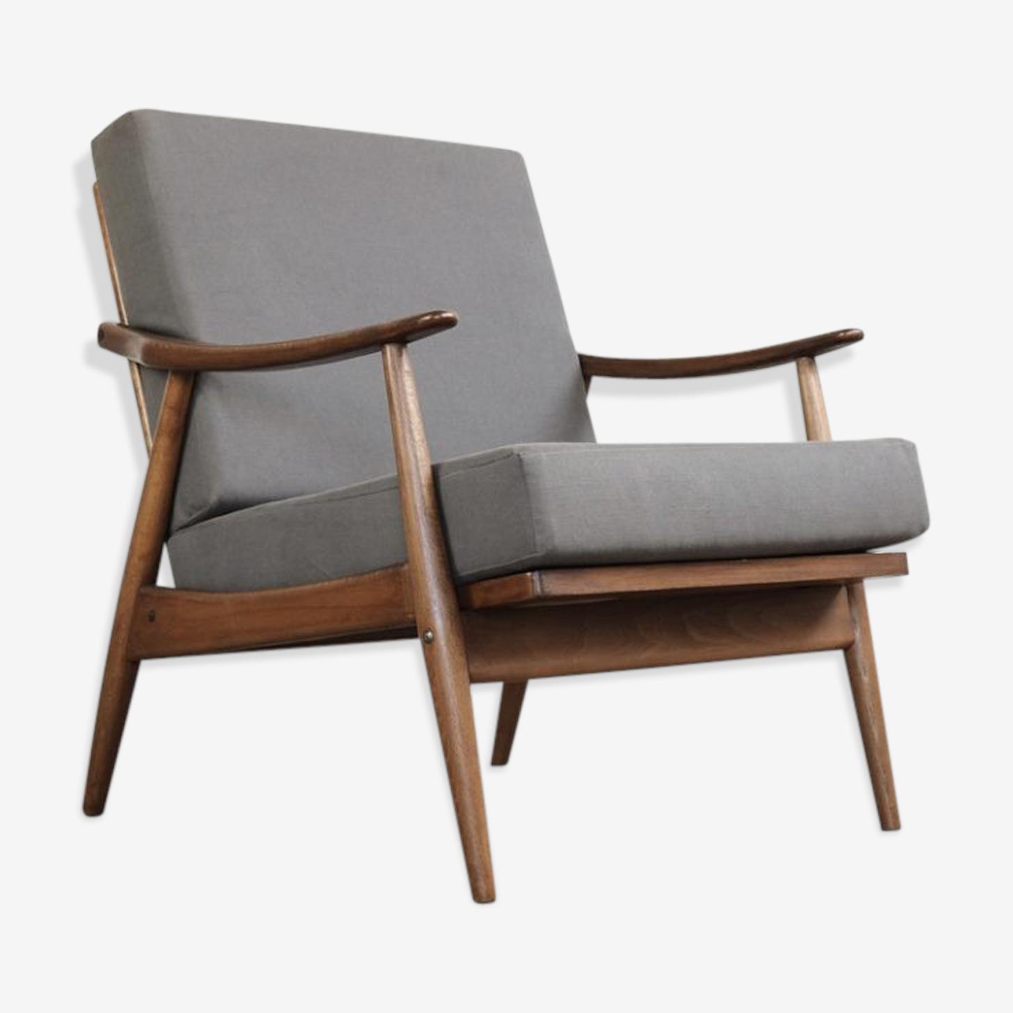 Danish Chair in gray fabric beech