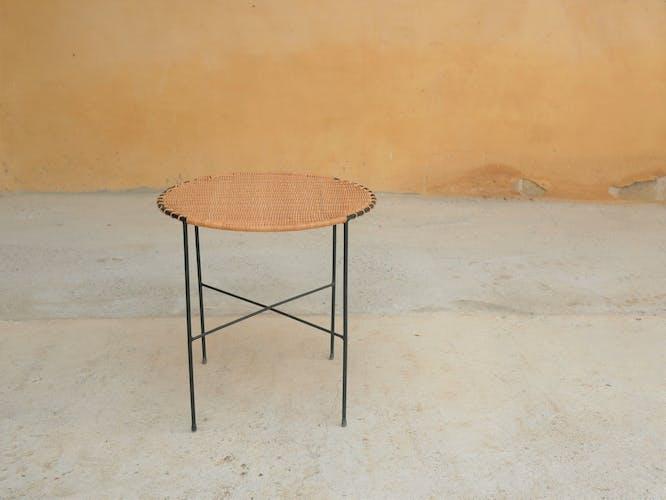 Table d'appoint vintage en rotin