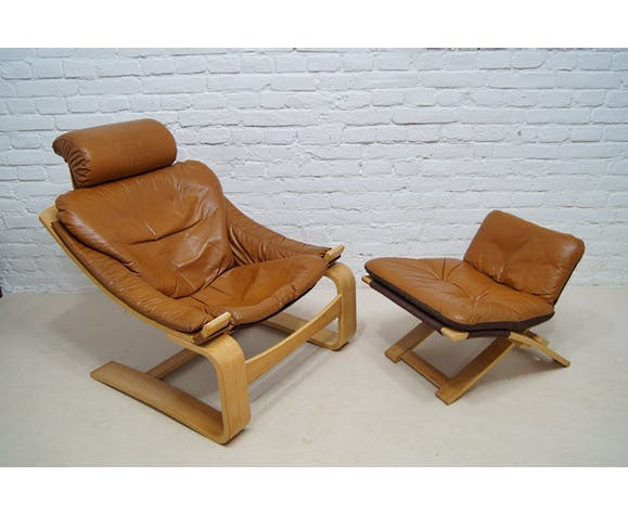 Cognac leather Kroken lounge chair & ottoman by Ake Fribyter