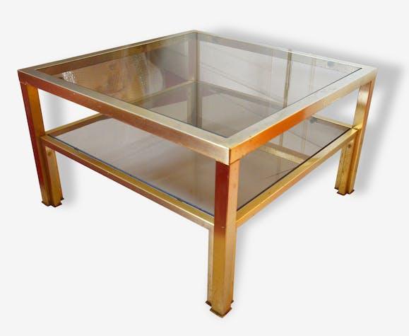 Vintage Basse Guéridon Et 60 Laiton Table Verre Fumé Années vn0w8OmN
