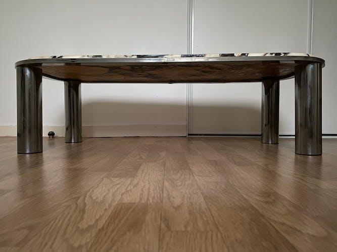 Table basse design italien années 70 acier chromé & marbre de carrare