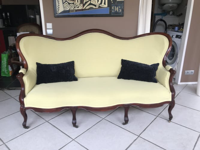 Sofa Napoleon III or Louis Philippe style with nobilis fabrix