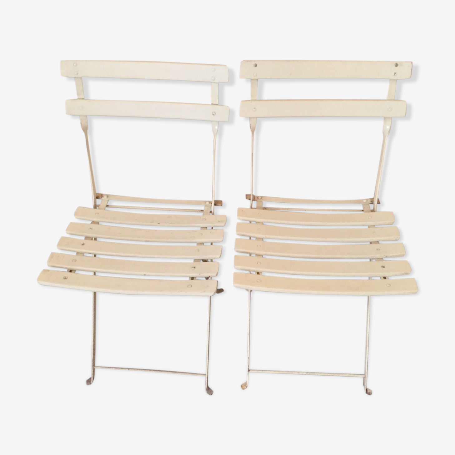 2 folding garden chairs in wood and metal
