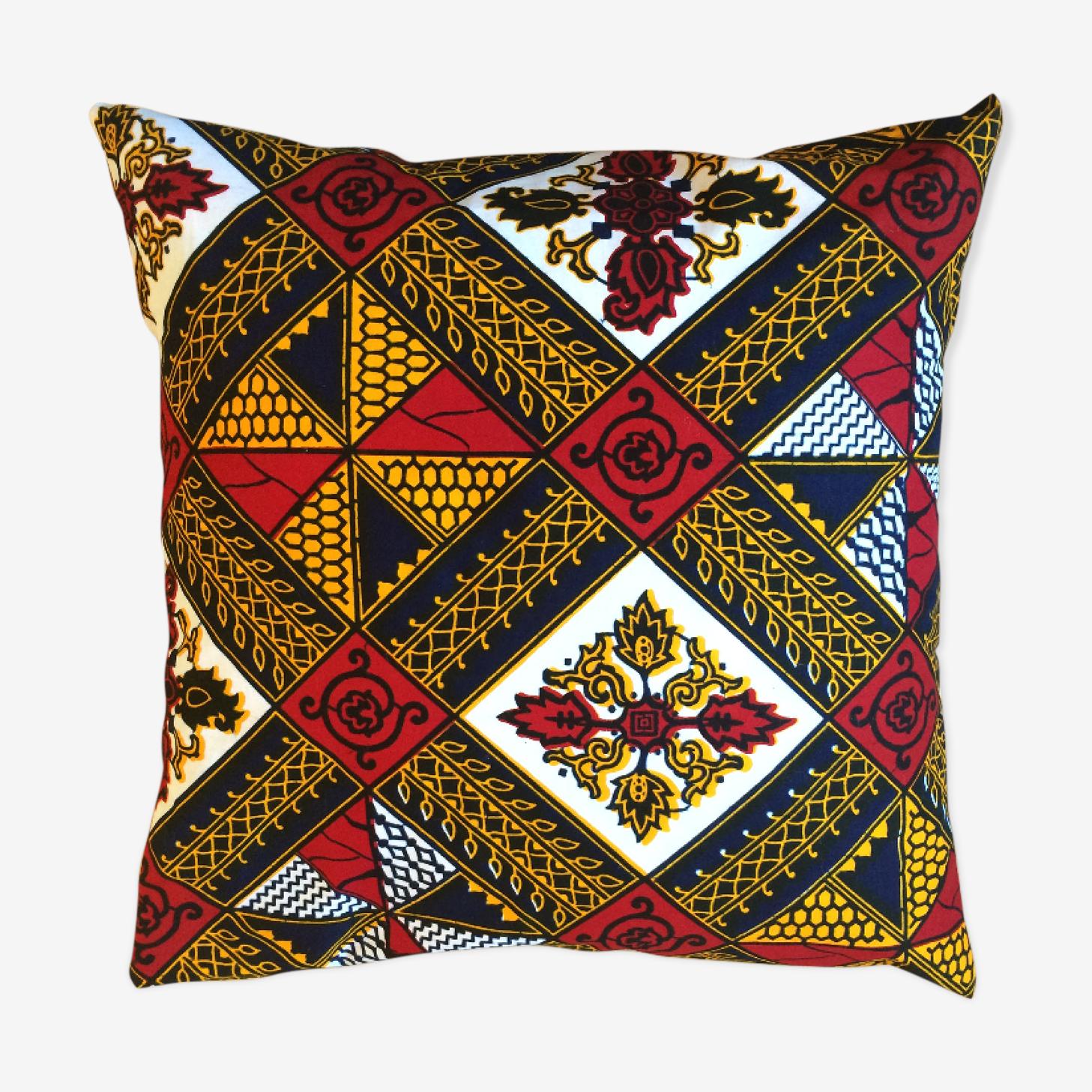 Coussin wax motifs losanges rouge et jaune 40x40cm