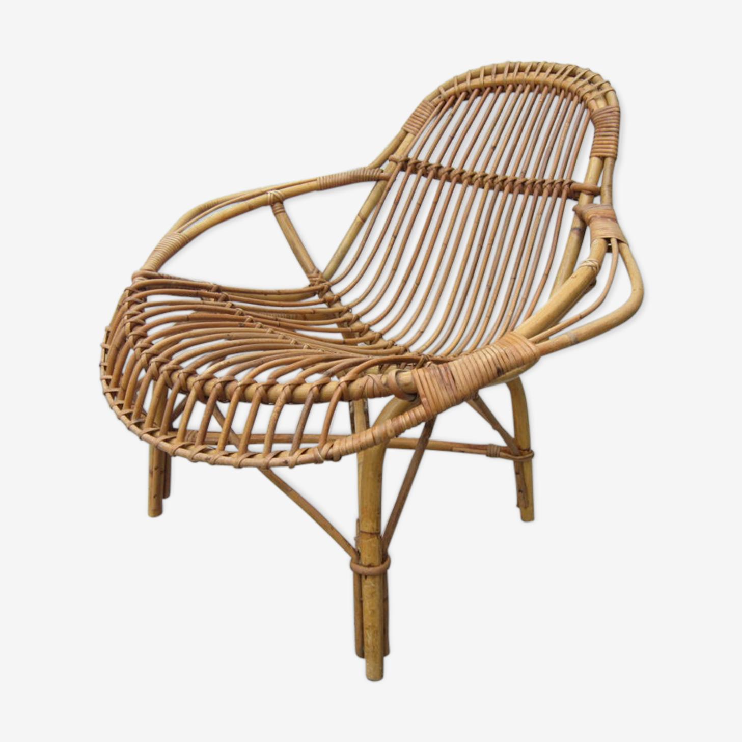 Rattan armchair 60s