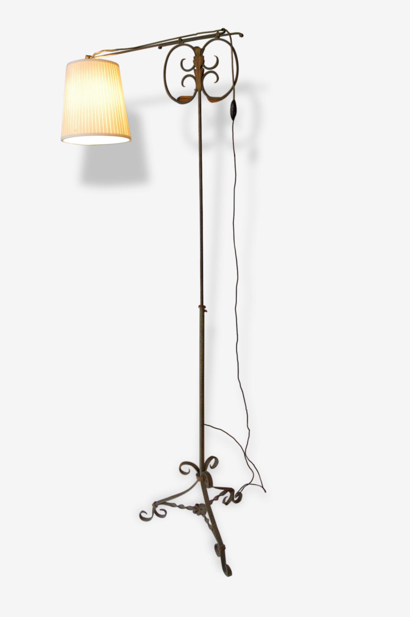 Lampadaire à crémaillère vintage potence années 40 50 fer forgé
