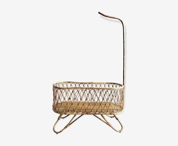 lit bb berceau en rotin vintage avec flche de lit et matelas sur mesure - Fleche De Lit