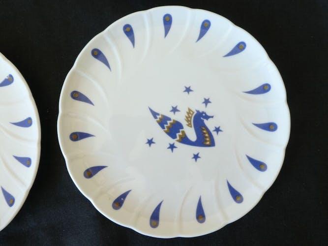 6 assiettes en porcelaine de Limoges Bernardaud pour Air France
