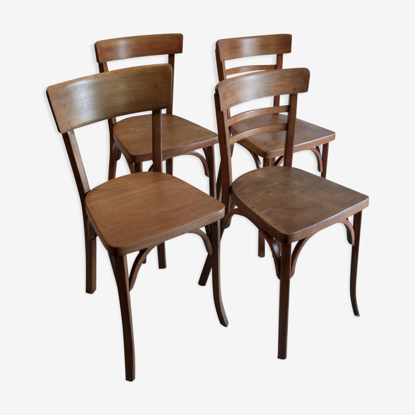 Lot de 4 chaises bistrot Baumann  – circa 50