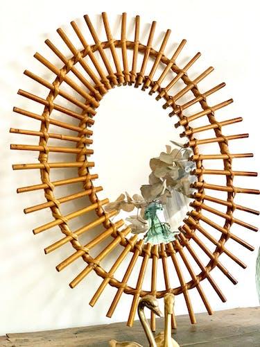 Miroir rotin vintage 44x54cm