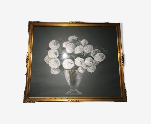 Tableau nature morte aux fleurs blanches années 70