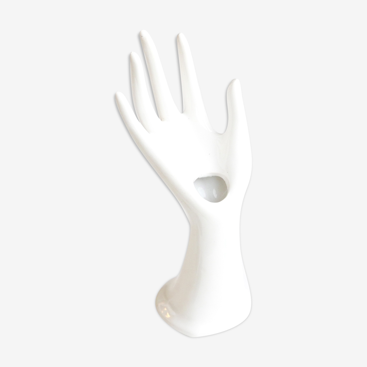 Main baguier vase en porcelaine blanche années 70