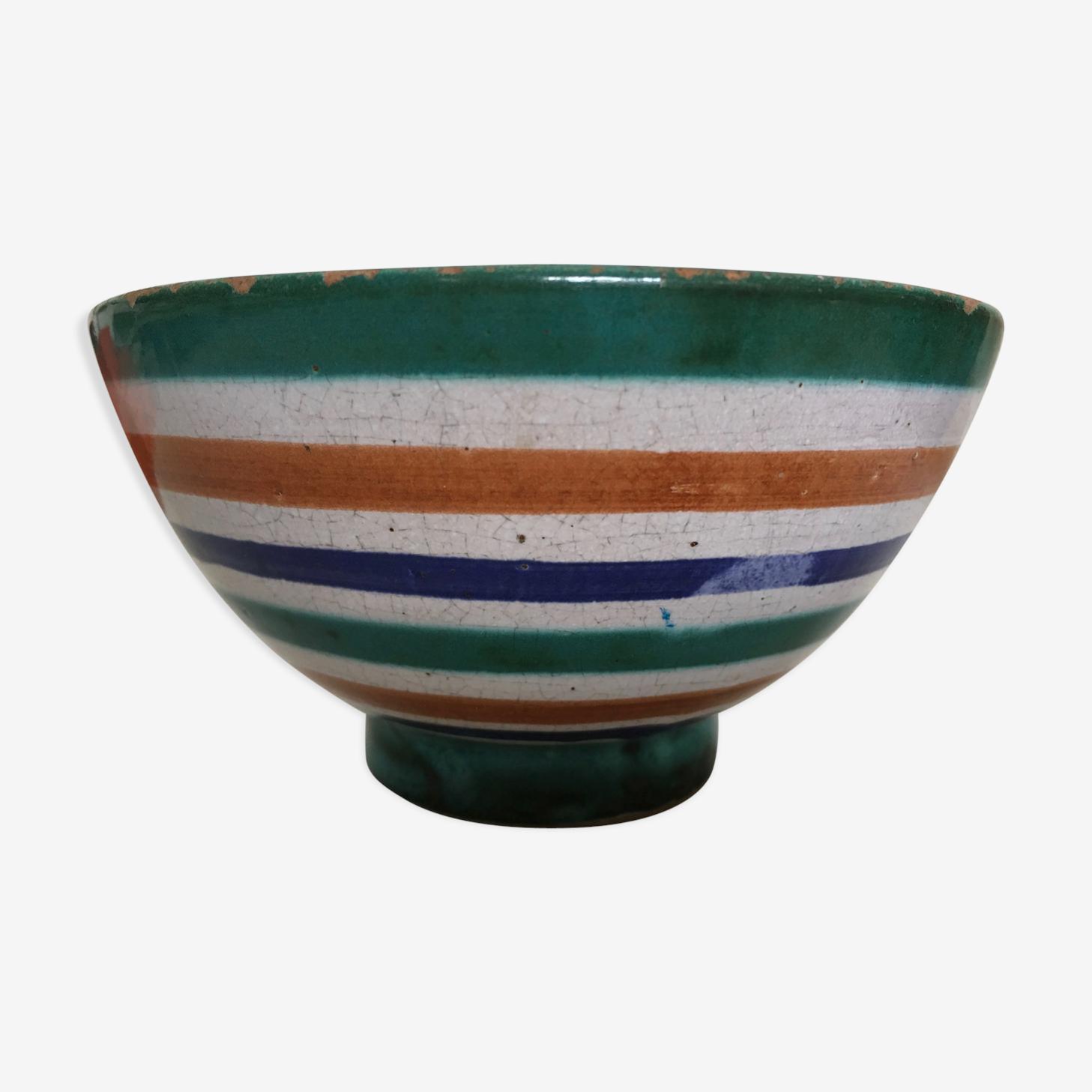 Bol de céramique Robert Picault décor de rayures vert bleu tabac