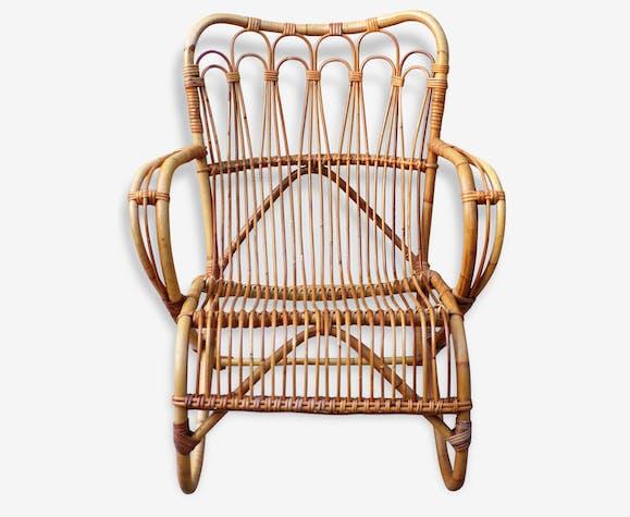 large fauteuil rotin vintage 1950 - Fauteuil Rotin Vintage