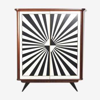 Rockabilly german tall cabinet with drawers and hand-painted op-art pattern, 1950