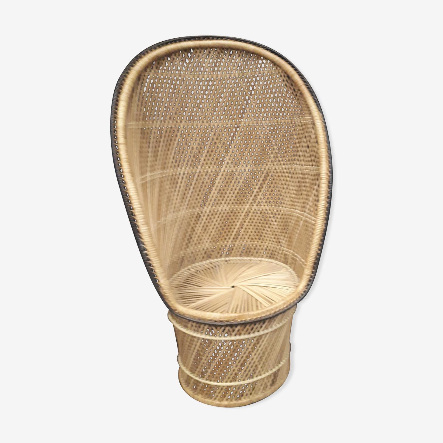 Rattan armchair in emmanuelle style