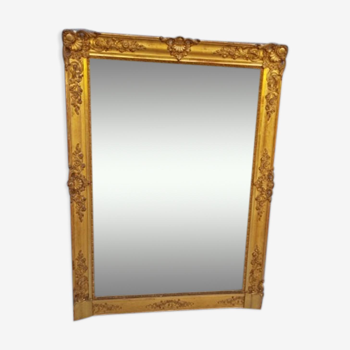 Grand miroir bois et stuc doré, XIXème, 155 X 112 cm