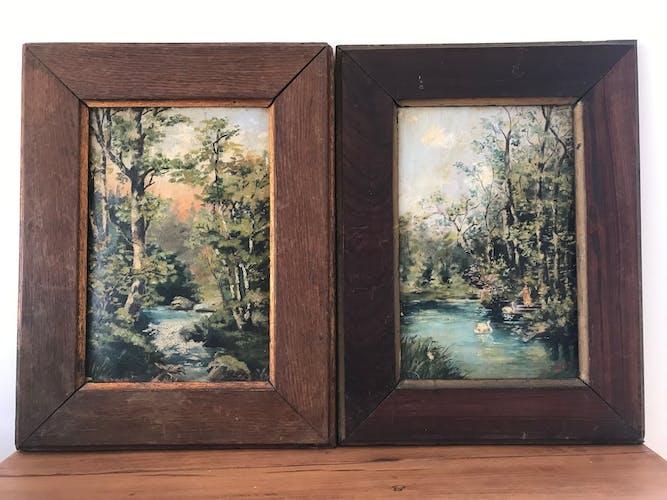 Paire de tableaux du 19e